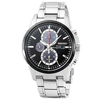 SEIKO 精工大錶徑光動能三眼鬧鈴計時錶-黑 / SSC087P1