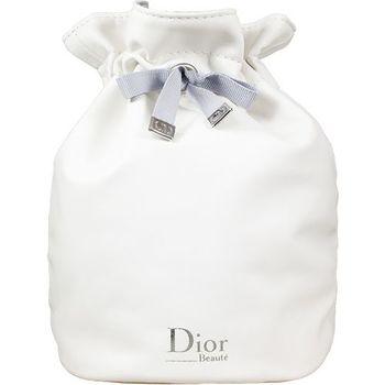 Dior 迪奧 柔白皮質圓桶束口包