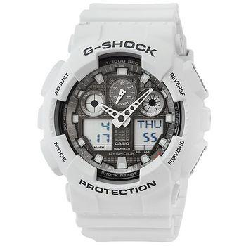 CASIO 卡西歐G-SHOCK 雙顯鬧鈴電子錶-軍灰 / GA-100LG-8A