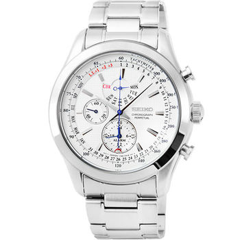 SEIKO精工 萬年曆三眼計時錶-白面 / SPC123P1