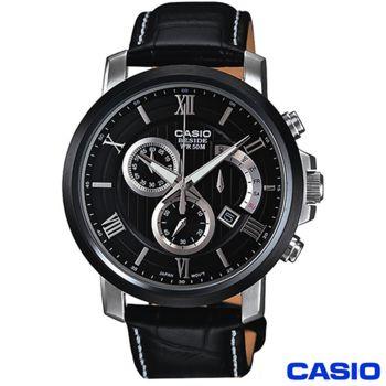 卡西歐CASIO 黑面真皮錶帶逆跳設計 BEM-507BL-1A