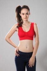 東森購物 頻道英國COMFIA浪漫蕾絲款超輕感無痕內衣(紅)-M