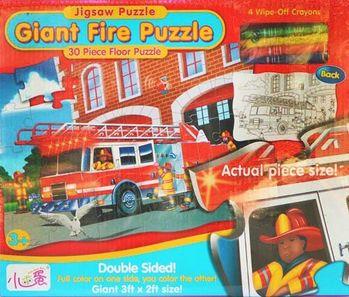 地板大拼圖 - 彩繪塗鴉板-消防車