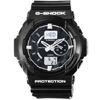 CASIO 卡西歐G-SHOCK 雙顯鬧鈴電子膠帶錶-黑 / GA-150BW-1A