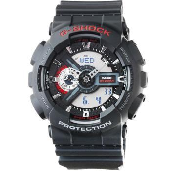 CASIO 卡西歐G-SHOCK 雙顯重機電子錶-黑 / GA-110-1A
