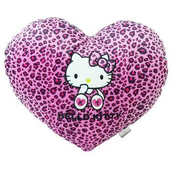 【享夢城堡】HELLO KITTY 豹紋系列-心型抱枕