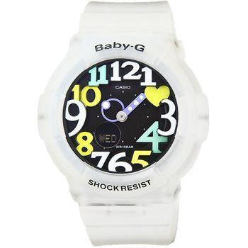 CASIO 卡西歐Baby-G 數字指針鬧鈴雙顯錶-果凍彩色 / BGA-131-7B4