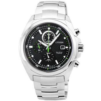 CITIZEN星辰 ECO-DRIVE光動能藍寶石水晶鈦金屬計時錶-黑色 / CA0190-56E
