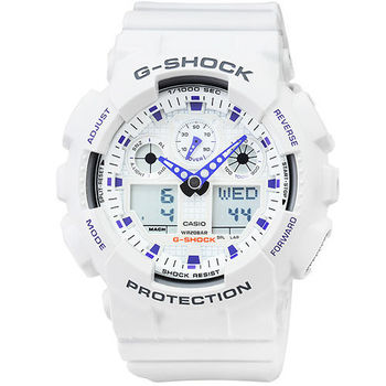 CASIO 卡西歐G-SHOCK 雙顯鬧鈴電子錶-白 X 藍 / GA-100A-7A
