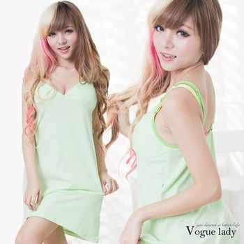 【Vogue Lady】素面洋裝款睡衣系列(綠)