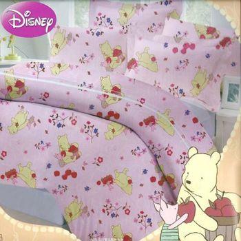 【Disney迪士尼】四件式雙人(100%高級純棉)鋪棉兩用被床包組(維尼與艾雅)二色可選