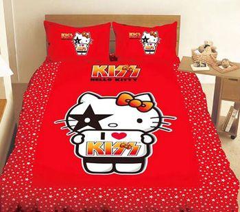 HELLO KITTY 凱蒂貓我愛KT單人床包組-I ♥ KISS篇
