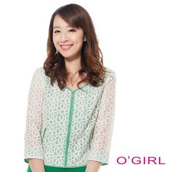 【OGIRL】小香風棉質蕾絲襯素色面料袖簍空外套(米白/綠)