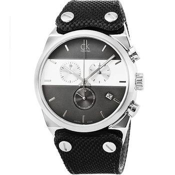 CK Calvin Klein Eager 凱文克萊三眼計時皮革帆布錶-黑 / 中型 / K4B381B3