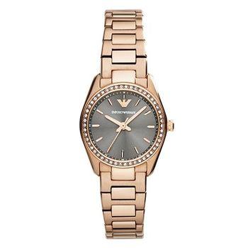 【ARMANI】奢華晶鑽品味鋼帶女錶 AR6030