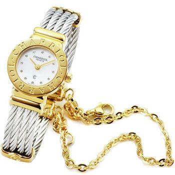CHARRIOL 夏利豪 St Tropez 藍寶石珍珠母貝腕錶-金 (小型) / ST20CY1.520.RO004