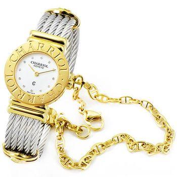 CHARRIOL 夏利豪 St Tropez 藍寶石珍珠母貝腕錶-金 / 028C.540.326