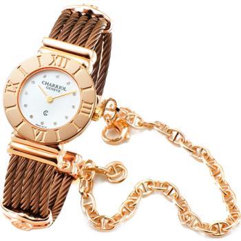 CHARRIOL 夏利豪 St Tropez 藍寶石珍珠母貝腕錶-古銅+玫瑰金 / 028RP.543.326