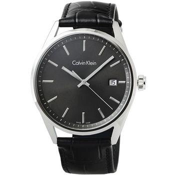 CK Calvin Klein Mens Formality 凱文克萊大錶徑皮帶男錶-黑面 / K4M211C3