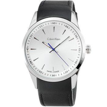 CK Calvin Klein Bold 凱文克萊大錶徑皮帶帶男錶-銀面 / K5A311C6