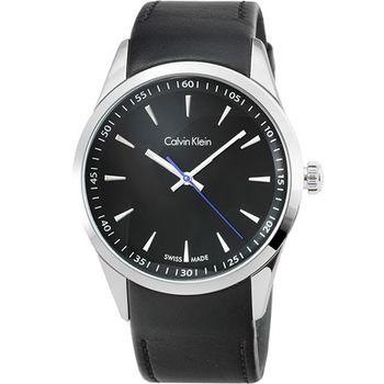 CK Calvin Klein Bold 凱文克萊大錶徑皮帶男錶-黑面 / K5A311C1