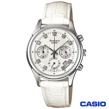 【CASIO卡西歐】SHEEN晶鑽三眼時尚真皮女錶 SHE-5023L-7A
