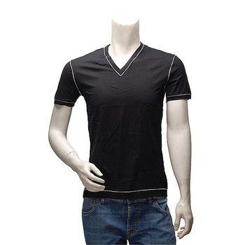 DOLCE  GABBANA 經典款縫線飾邊V領短袖純棉素面T恤(黑)M14807
