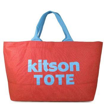 Kitson LA 紅藍雙色帆布大托特旅行包(特大款)