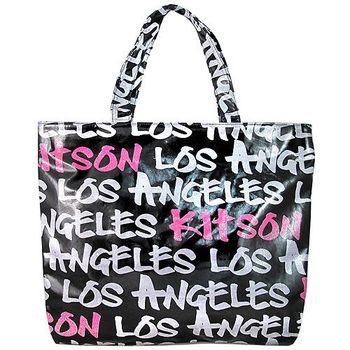 Kitson LA 黑色金屬光澤字母托特包