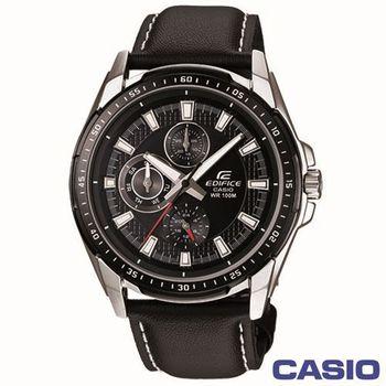 CASIO EDIFICE三眼極速賽車魅力皮帶男錶 EF-336L-1A1