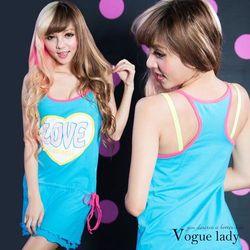 Vogue Lady海灘色彩彈性棉洋裝(藍)