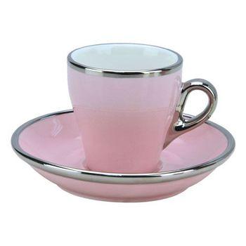 TIAMO 17號鬱金香濃縮杯盤組(白金) 單客 90cc 粉紅-HG0842PK