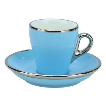 TIAMO 17號鬱金香濃縮杯盤組(白金) 單客 90cc 粉藍-HG0842BB