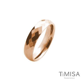 【TiMISA】格緻真愛-寬版 (玫瑰金) 純鈦戒指