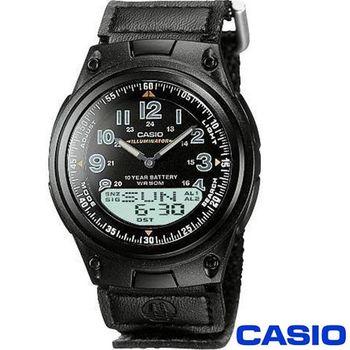 【CASIO卡西歐】都會時尚雙顯帆布帶腕錶(AW-80V-1B)