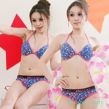 (任選)【Vogue Lady】青春不敗印花三角褲(圈圈藍/圈圈紫)M-L