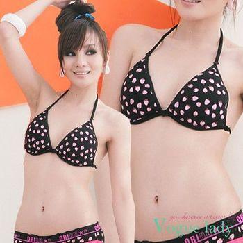 (任選)【Vogue Lady】青春不敗印花比基尼內衣(草莓黑/草莓桃)