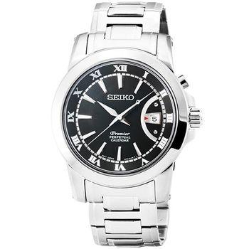 SEIKO 精工Premier 藍寶石萬年曆石英鋼帶腕錶-黑 / SNQ141P1