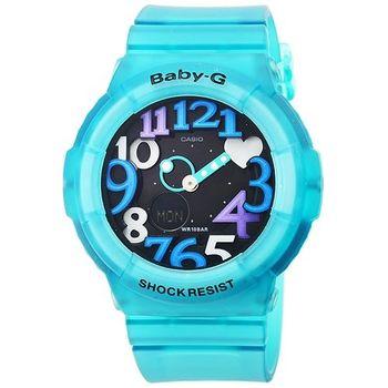 CASIO 卡西歐Baby-G 數字指針鬧鈴雙顯錶-果凍湖水綠 / BGA-131-3B