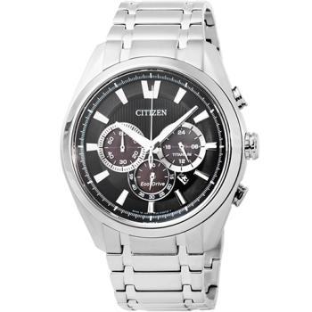 CITIZEN星辰ECO-DRIVE光動能藍寶石水晶鈦金屬計時錶-黑色 / CA4011-55E