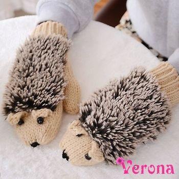 【Verona】可愛刺蝟加厚保暖毛線針織手套