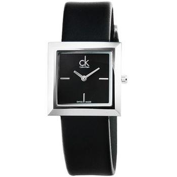 CK Calvin Klein Mark 時尚皮帶錶-銀框黑面 / K3R231C1