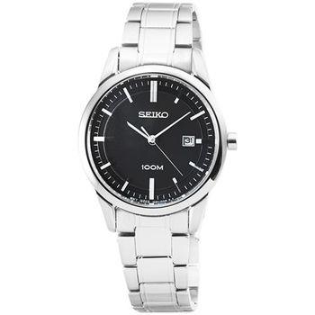 SEIKO 精工簡約大錶徑鋼帶女錶-黑 / SXDG27P1