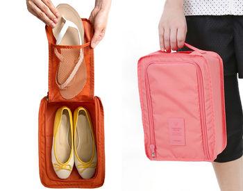 德魯凡鞋子整理袋(2鞋位) 6色可選 無隔板收起後可放進包包裡 鞋盒收納袋