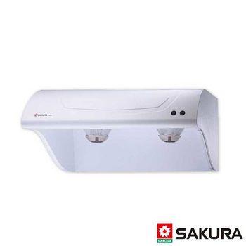 【櫻花】R-3250XL 斜背式烤漆白色油煙機 90CM