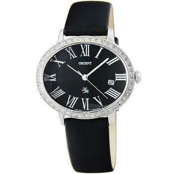 ORIENT 東方錶LADY ROSE石英皮帶錶-黑 / FUNEK006B (原廠公司貨)