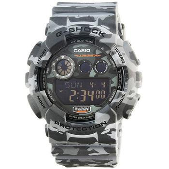 CASIO 卡西歐G-SHOCK 迷彩鬧鈴電子錶-灰 / GD-120CM-8