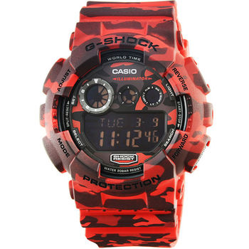 CASIO 卡西歐G-SHOCK 迷彩鬧鈴電子錶-紅 / GD-120CM-4