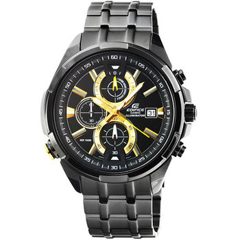 CASIO 卡西歐EDIFICE大錶徑三眼計時錶-IP黑 / EFR-536BK-1A9