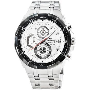 CASIO 卡西歐EDIFICE大錶徑三眼計時錶-白 / EFR-539D-7A